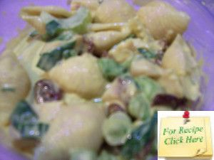 The curry gives this Bombay Chicken Pasta Salad its unique colour as well as flavour.