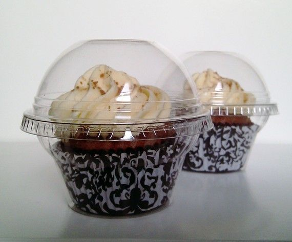 30 Crystal Clear Cupcake Favor Cups / Boxes / by CupcakePeddler