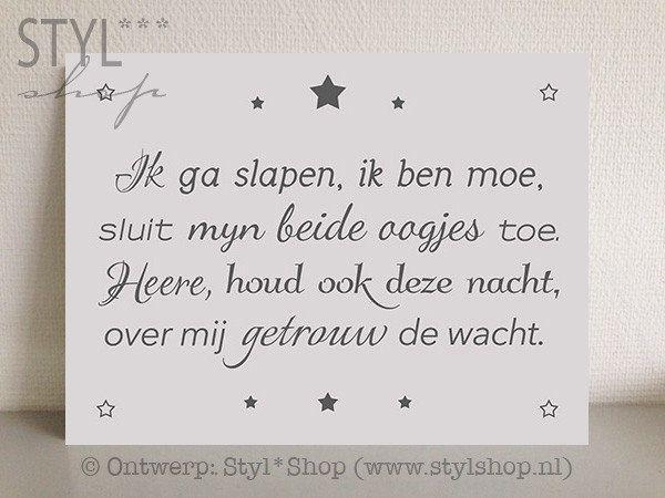 Tekstbord Ik ga slapen, ik ben moe (wit) kleine versie - Styl*Shop - Mooie (Fryske) woonaccessoires en (Friese) tekstborden vind je bij Styl*Shop - jouw online webwinkel!