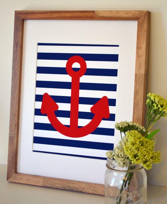 Nautical nursery 8 x 10 print- anchor art- boy nursery art- nautical theme- teenage boy room print- navy and red print- baby shower gift via Etsy