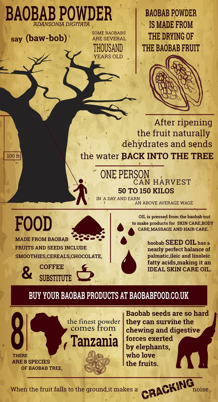 This infographic is about baobab powder, Africa's superfood! The boabab tree offers a variety of helth benefits through it's baobab fruit. Read more here: http://baobabfood.co.uk/