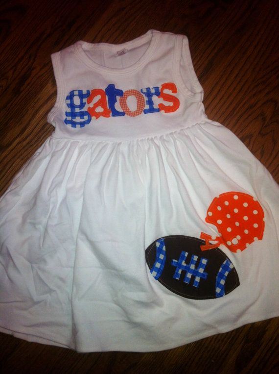 Football Dress  Florida Gators Toddler Dress  by roundthebendagain, $32.00