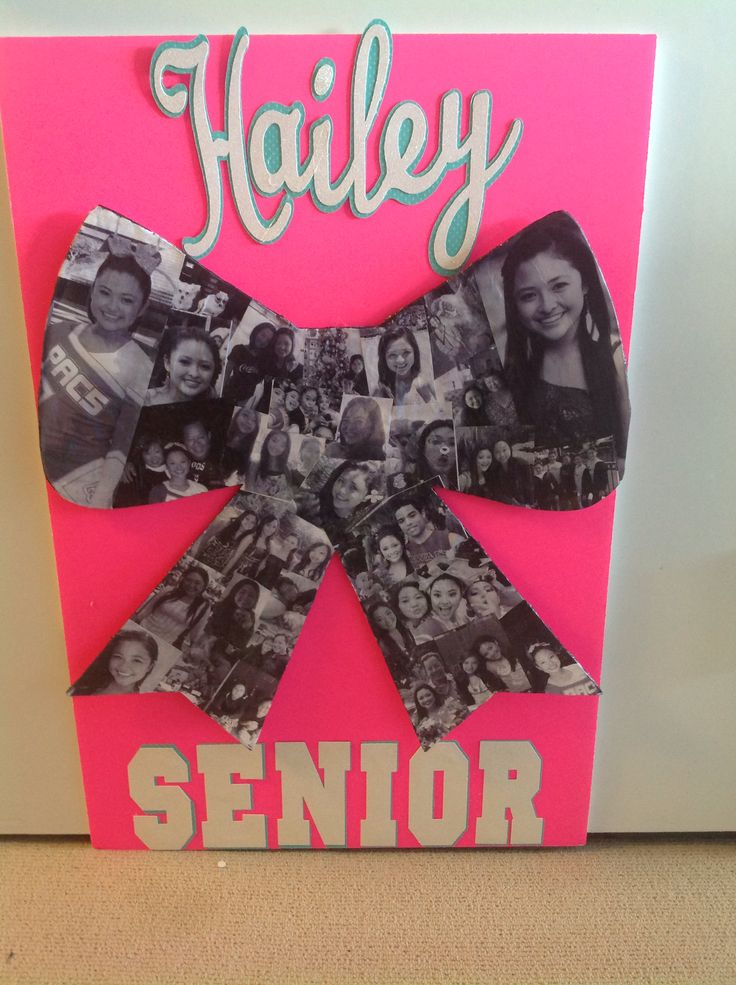 Cheer sign for senior cheerleader night. Used plain copy paper to print photos, mod podge them on poster board. Then used cricut for lettering