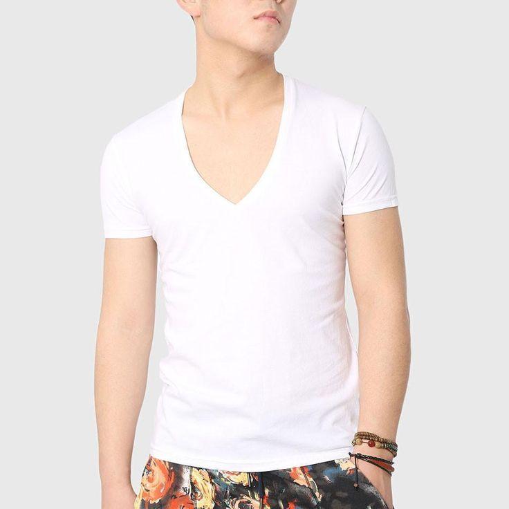 Men Bodybuilding T-Shirts, V-Neck, Asymmetrical Hem, White