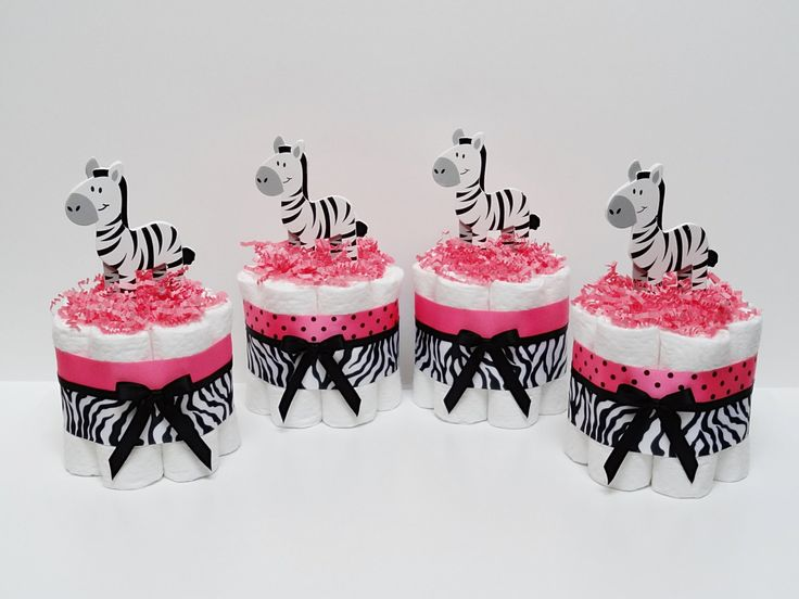 FOUR Hot Pink Zebra Mini Diaper Cake Baby By LanasDiaperCakeShop, $36.99
