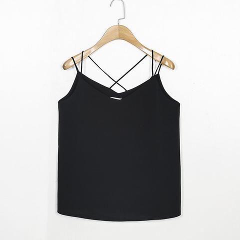 [EBay] Suan 2017 Vests New Women Chiffon Camis Vest Tops Tees Slim Solid Color Chiffon Patchwork Casual Tank Tops 2332