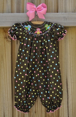mens casual fashion over 50 This and That For Kids   Hand Smocked Owls Brown Polkadots Girl  39 s Long Bubble  39