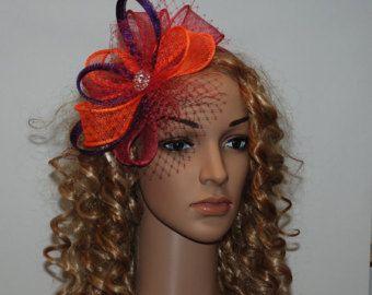 Caliente rosa, naranja, púrpura fascinador para bodas, fiestas, carreras - fascinator multicolor magnífico nuevo en mi tienda Etsy!