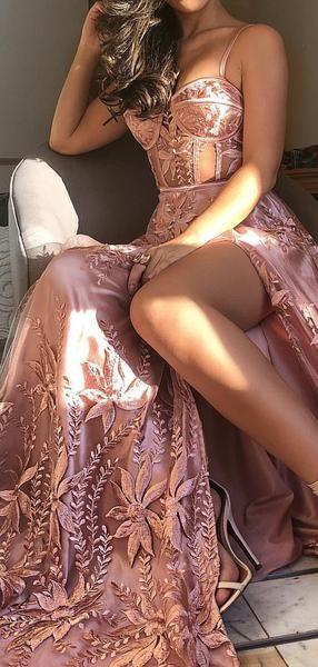 Dusty Rose Unique Applique Spaghetti Strap Prom Dresses,PD00184