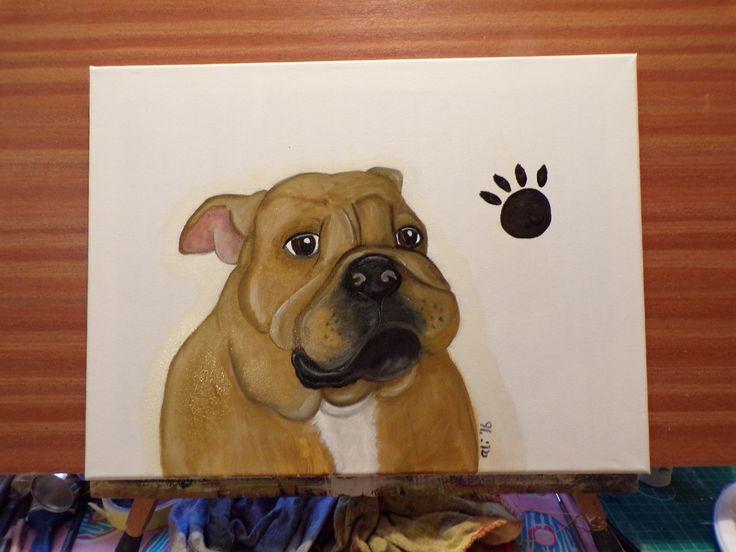 "Slightly less ""cartoony"" Bull dog puppy. 30cm x 40cm Oil on box canvas £25.00 + £4.50 P&P"