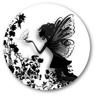 3D Floral Butterfly & Fairy Elf Silhouette Artwork - Round Bottle Cap Pendant Cabochon 1 inch Round Circle image Digital Collage Sheet op Etsy, 2,96 €