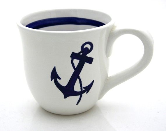 Anchor Nautical Navy Blue and White Large Mug. (Fine. For visitors at the cottage who might not have caught on to our particular sense of humor)