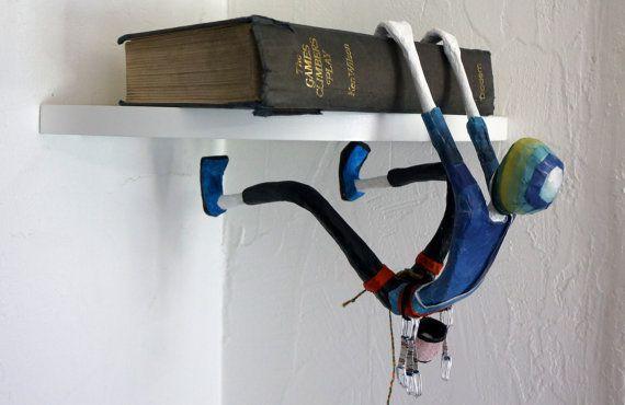 Rock Climber. Paper mache & wire sculpture. by RockPaperScissorsAS
