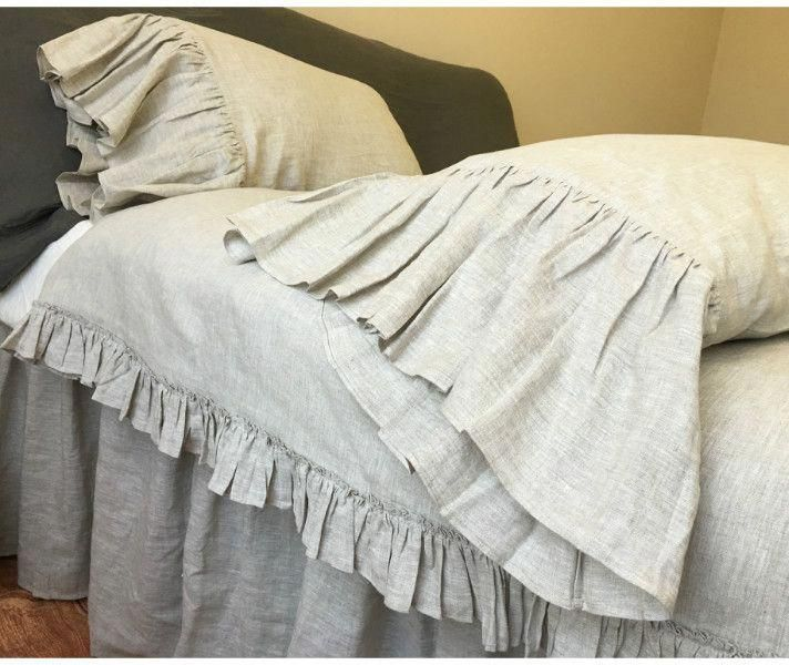 Ruffle Duvet Cover Shabby Chic Bedding, Flax Linen Bedding Manufacturers In India