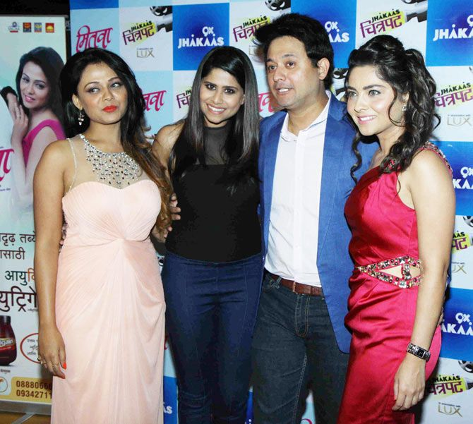Prarthana Behere, Sai Tamhankar, Swapnil Joshi and Sonalee Kulkarni at the screening of the Marathi film 'Mitwaa'. #Bollywood #Fashion #Style #Beauty #Marathi