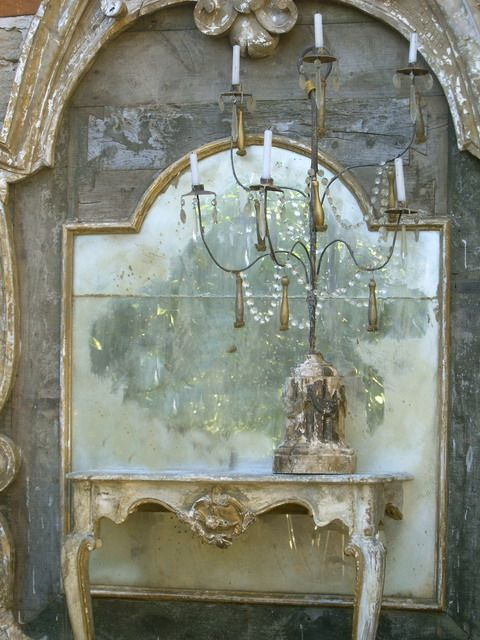 A tall mirror, girandole and little console....Decorating Blogs, Shabby Chic, Antiques Mirrors, Sweets Dreams, Tables Lamps, South Shore Decorating, Decor Blog, Male, Mirrors Mirrors