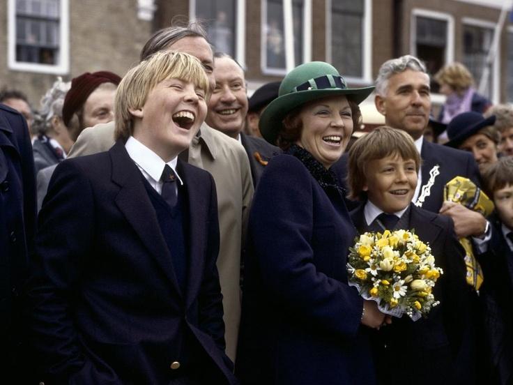 Willem Alexander, Queen Beatrix and Constantine during Queensday in Zuidlaren. The royal family visited in 1982 Zuidlaren and Harlingen.