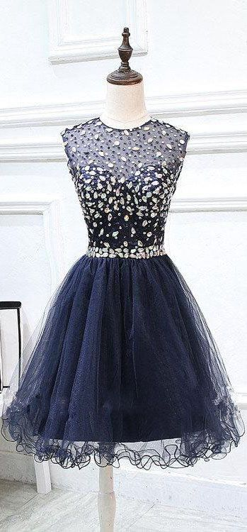 US$125.72-Short Tulle Short Deep Blue Beaded Prom Dress With Open Back. https://www.junebridals.com/short-tulle-beaded-dress-with-keyhole-back-p312305.html.   Free Shipping! NewAdoringDress selected the best prom dresses, party dresses, cocktail dresses, formal dresses, maxi dresses, evening dresses and dresses for teens such as sweet 16, graduation and homecoming. #prom #dress