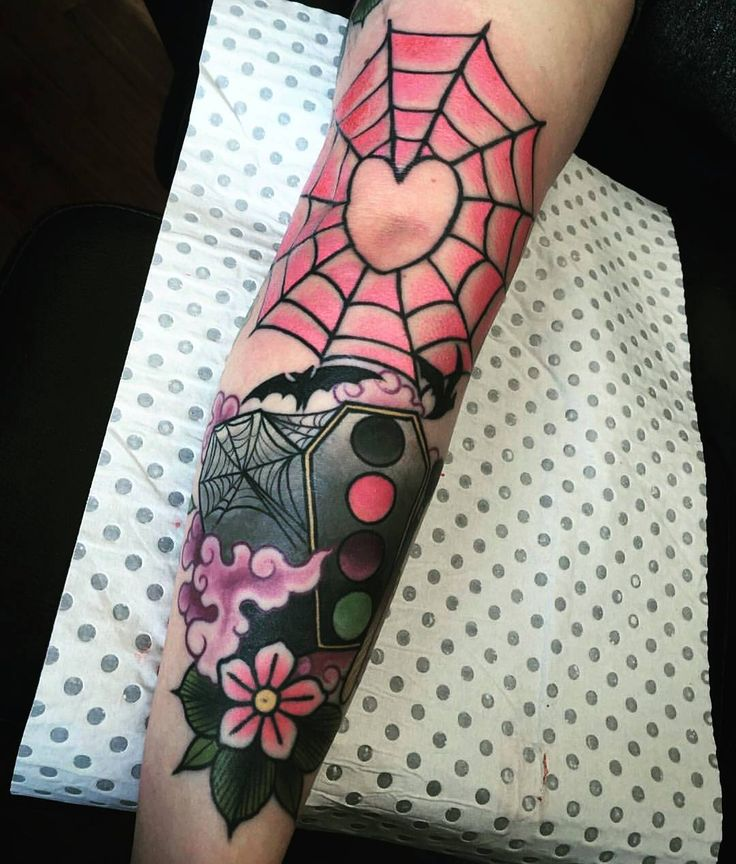"""Emily-Rose (@batdoll_x) """"Just realised this photo of my finished elbow web went missing off my page ️ By Ebony Mellowship…"""""""