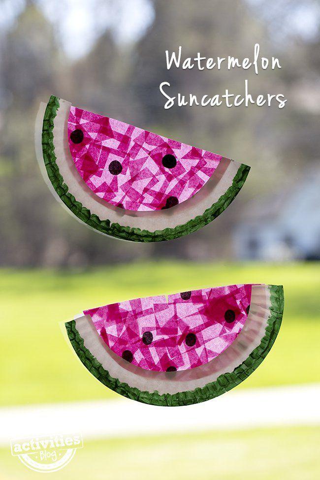 Paper Plate Watermelon Suncatchers kids can make!