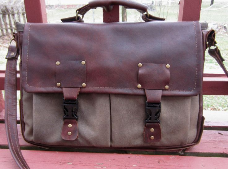 PrimusCraft CUSTOM laptop messenger bag briefcase in leather, waxed canvas or duck canvas by PrimusCraft on Etsy