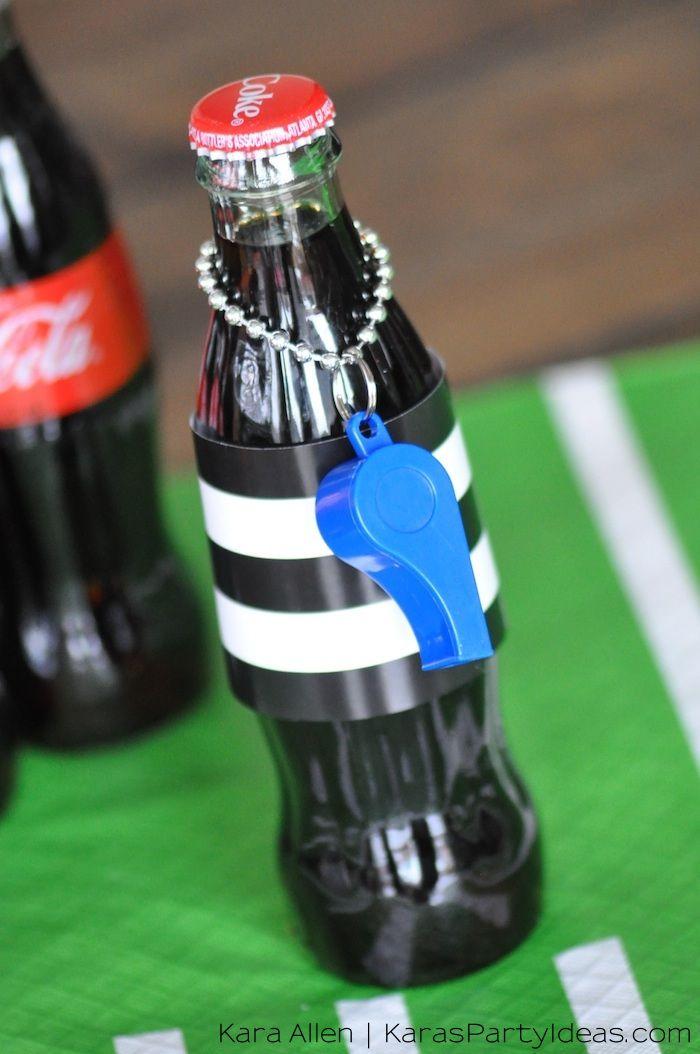 Football referee Coca-Cola drinks! Via Kara's Party Ideas | KarasPartyIdeas.com #HomeBowlHeroContest
