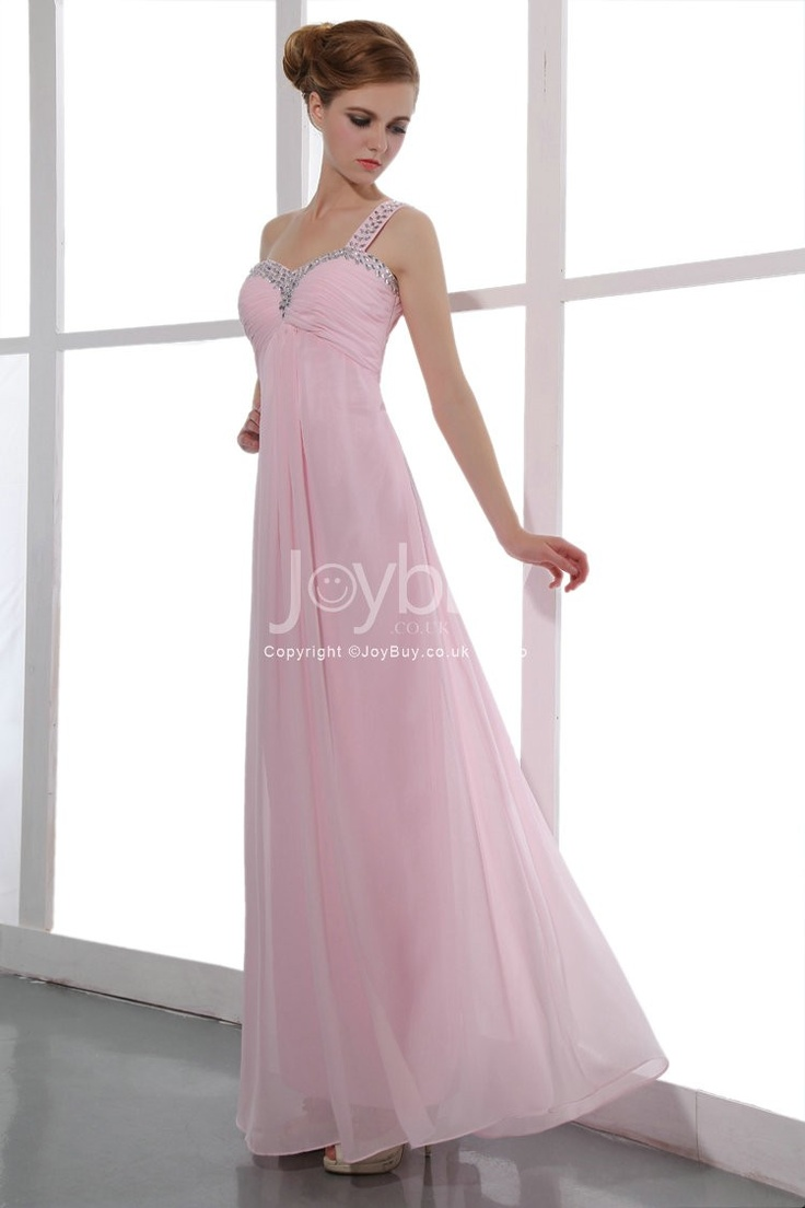 Crystal Trimmed One Shoulder Empire Ruffles Pink Prom Dress £113.99