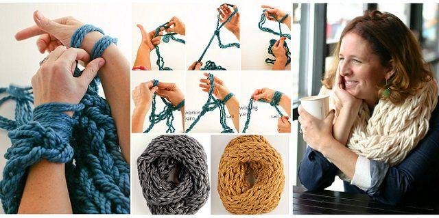 Tricoter une écharpe tube avec les bras