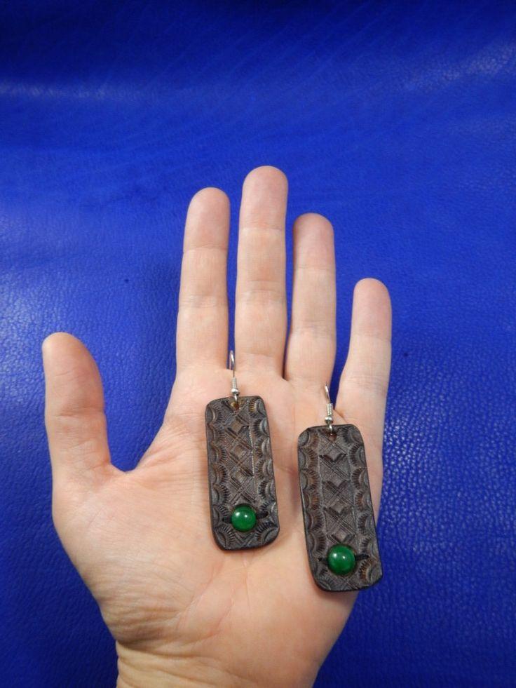 Leather earrings Jade, Кожаные серьги Нефрит by RozaBracelets on Etsy