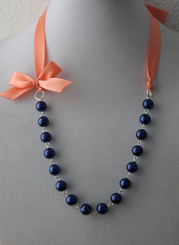 Navy Pearl and Coral Ribbon Bow Necklace on Etsy, $16.50