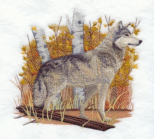 Embroidered Wolf in autumn quilt block,wolf fabric, panel,autumn,wolves,wolf