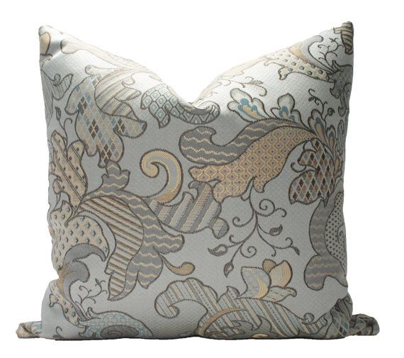 Decorative Paisley Aqua Grey Teal Pillow Cover 18x18 Red