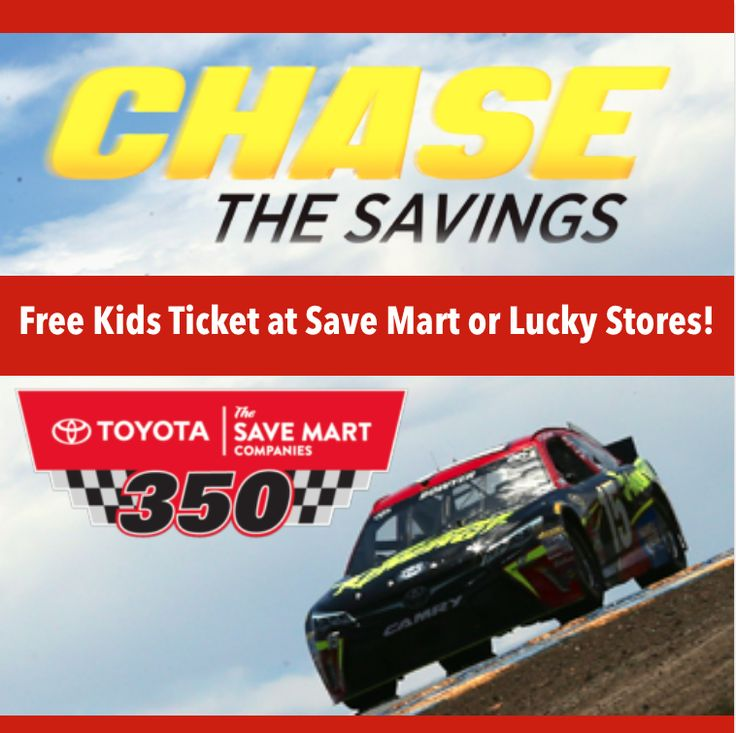 Save on your Sunday tickets to the Toyota/Save Mart 350! Adult tickets are just $45, and tickets for kids 12 & under are FREE only at Save Mart or Lucky stores with the purchase of an adult ticket.#SonomaFamilyShare #NASCAR #SonomaRaceway