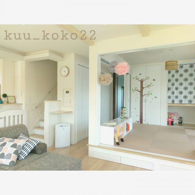 kuu_koko22さんの、部屋全体,子供部屋,和室,北欧,北欧インテリア,新築,マイホーム,小上がり,シンプルナチュラル,北欧ナチュラル,小上がり和室,新築マイホーム,Myhome,こどもと暮らす。,新築一戸建て,のお部屋写真