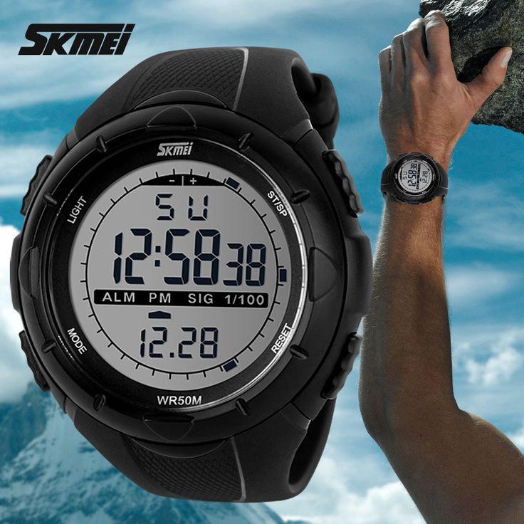 2015 новый Skmei марка мужчины из светодиодов цифровые военные часы мода спортивные часы для дайвинга плавать открытый свободного покроя наручные часы купить на AliExpress