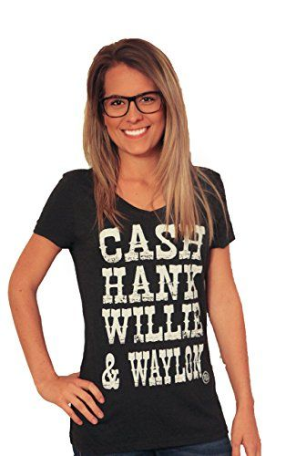 CASH HANK WAYLON  WILLIE V-Neck tshirt (Large, black)  Special Offer: $26.99  355 Reviews This Feminine version of a Muscle Tank is designed with low cut armholes that can be worn with a bandeau for a relaxed style. Enjoy the softness of a poly-viscose blend that forms to...