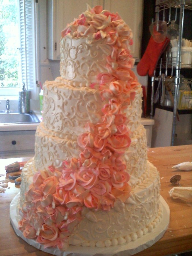 Peach Wedding Cake — Round Wedding Cakes
