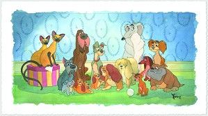 Toby Bluth-Family Portrait - From Disney Lady and The Tramp