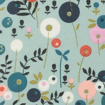 cirkel blomster på lyseblå baggrund