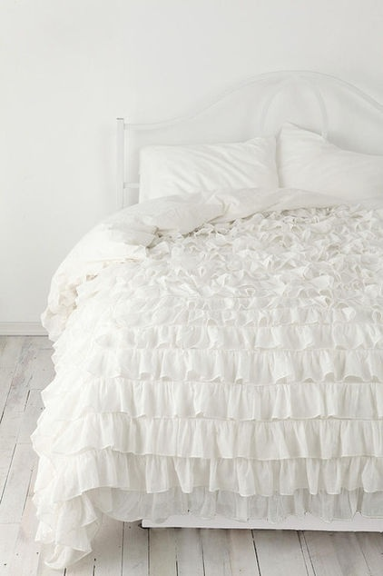 Ruffle comforter set-you can get a real comforter set at King Linens for cheap, or you can make your own :) ~  Or you cannbuy an on sale duvet comforter with down and a bunch of cotton sheets and i can make ruffles on the down comforter :)