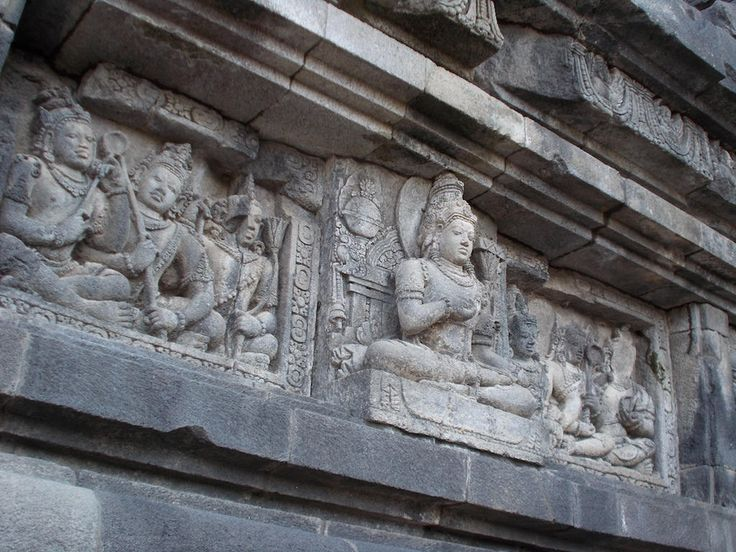 A relief is planted on a wall in Prambanan Temple Complex, Sleman, Yogyakarta.