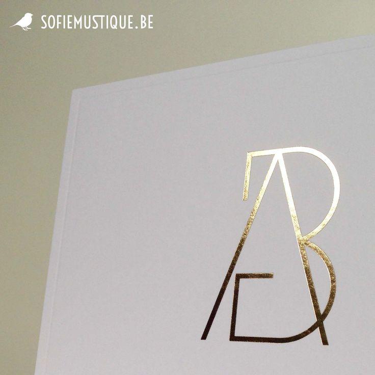 Huwelijksuitnodiging / wedding invitation Anneke & Bert | goudfolie, gold hot foil, logo
