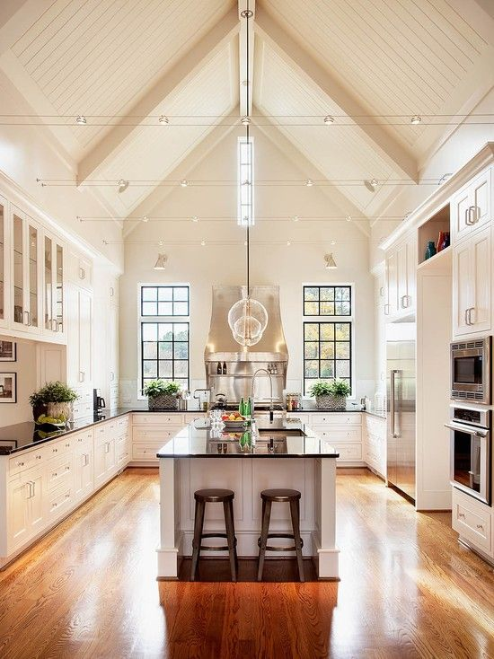 1000 images about vaulted interesting ceilings on for Kitchen designs with cathedral ceilings