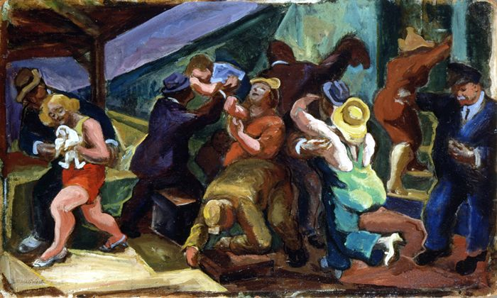 """Commuters Return,"" James Daugherty, 1930s, oil on Masonite, 18 1/4 x 30 1/8"", Flint Institute of Arts."