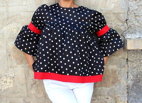 Black and white polka dots Maxi Top Polka by cherryblossomsdress