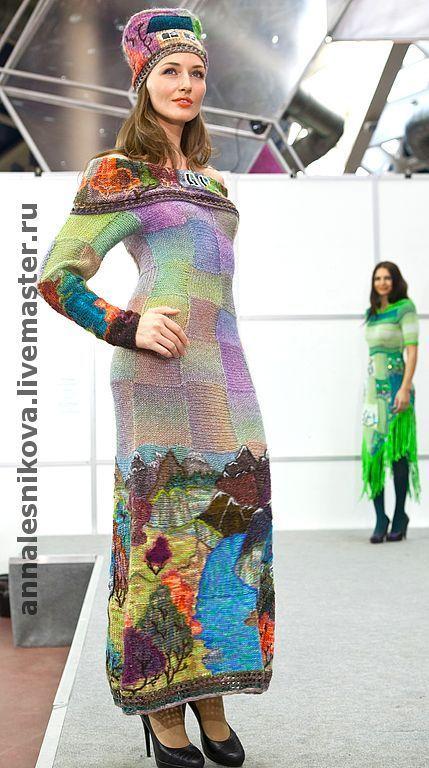 """Купить Платье """"Горная река"""" - авторское платье, вязаное платье, трикотажное платье"""