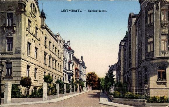 Ansichtskarte / Postkarte Litoměřice Leitmeritz Reg. Aussig, Schlöglgasse, Straßenpartie