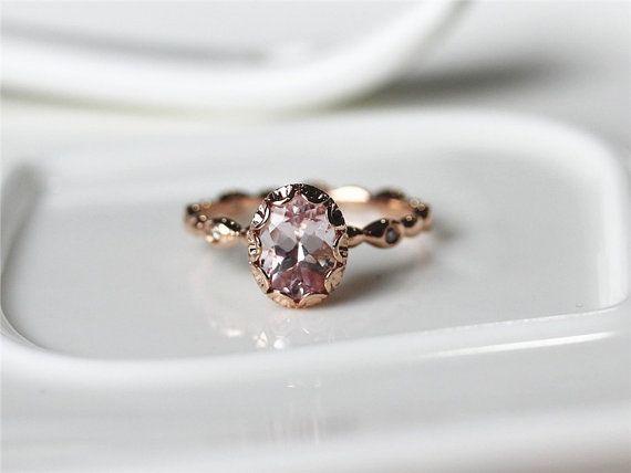 Halo ovaal 14K Rose goud roze Morganite Ring met door ByLaris