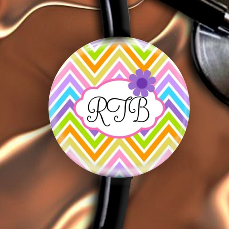 Stethoscope ID Name Tag Chevron Customizable Nurse Doctor Respiratory Personalized Initials by sparklinghope on Etsy https://www.etsy.com/listing/257633250/stethoscope-id-name-tag-chevron