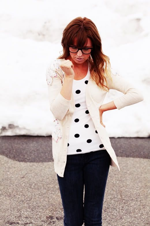 The Daybook: polka dots and cream cardi
